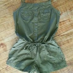 New Army Green Romper This new romper is beautiful! This piece would be perfect for spring and summer.   Color may vary slightly from picture.   Don't be shy, make an offer! Mudd Other