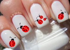 Ladybug nail decals, very pretty, bright stickers with unique designs. Ladybug nail stickers made on high quality decal paper. These decals can be applied to any type of nails (regular polish, soak off gel, hard gel and acrylic). Simple Nail Art Designs, Best Nail Art Designs, Nail Designs Spring, Toe Nail Designs, Beautiful Nail Designs, Cute Summer Nail Designs, Nails Design, Nail Art Stickers, Nail Decals