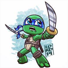 Chibi leo by lordmesa Ninja Turtle Drawing, Ninja Turtle Tattoos, Teenage Ninja Turtles, Ninja Turtles Art, Cartoon Drawings, Cartoon Art, Lord Mesa Art, Chibi Characters, Cute Cartoon Wallpapers