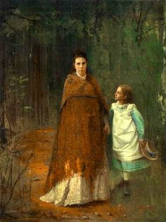 In The Park - Portrait of Artist's Wife And Daughter