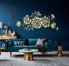 Salon bleu pétrole, bleu canard et bleu paon...   Murs (couleurs ...