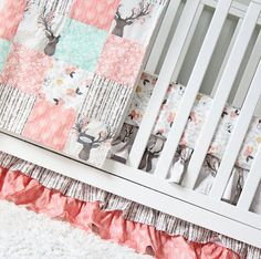Girl Crib Bedding Woodlands Fawn Girl Baby by GiggleSixBaby