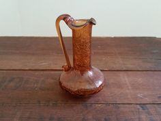 Vintage Crackle Glass Pitcher | Beautiful Copper / Amber Colored Cup | Mid Century Art Glass Mini Vase