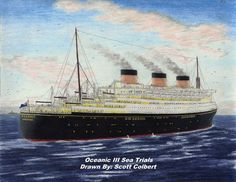 A drawing by Scott Colbert of the proposed Oceanic (III) of 1928, which construction soon stopped and canceled later.