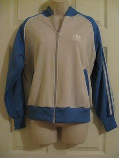 Vintage Adidas Light Blue White Track Jacket Trefoil size L Large Zip Up Striped #adidas