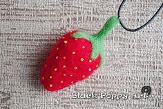 Bag Charm Strawberry/Felted strawberry keychain/Needle felting strawberry/Wool strawberry accesories/Strawberry necklace/OOAK felted gift by BlackPoppyArt on Etsy