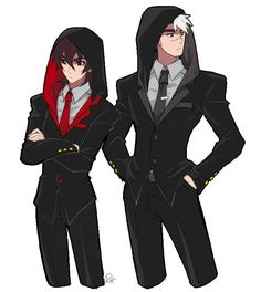 Red and Black- Keith and Shiro in hooded tuxedos from Voltron Legendary Defender