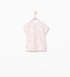 Image 1 of Bird print T-shirt from Zara