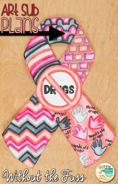 Red Ribbon Week Ideas | Decorate your bulletin board with these creative ribbons to support a drug-free awareness week with your students. Fill up your art sub plan folder with no-prep, fuss-free art projects that pair well with other Red Ribbon activities.