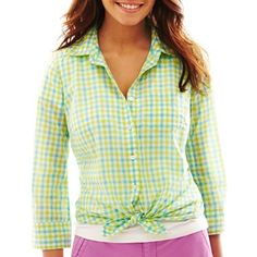 jcp™ Button-Front Voile Shirt - jcpenney
