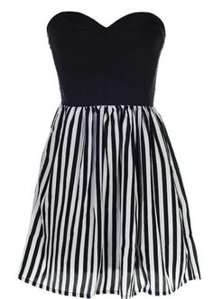 Monochrome Sweetheart Dress: Features a chic strapless cut with deep sweetheart bustline, beautifully textured bodice with rear satin paneling, black and white striped fluted skirt, and a centered back zip closure to finish.