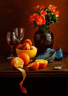 Peaches and oranges - Obst Fruit Photography, Still Life Photography, Dutch Still Life, Still Life Images, Still Life Fruit, Fruit Painting, Belle Photo, Painting Inspiration, Life Inspiration