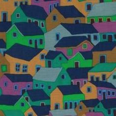 Spring 2014 Brandon Malby Shanty Town Cool - Unexpected and captivating, Shanty Town from the Spring 2014 Kaffe Fassett Collective has a fantastic combination of color, scale and fun.  100% Midweight/Quilting Cotton Width: 45""