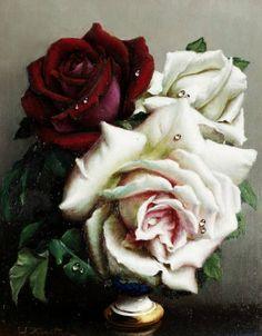 Roses by Russian artist Klestova Irene (1908 – 1989).