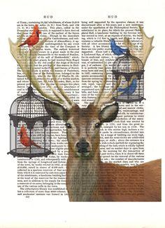 Deer and Bird Cages Original Illustration Art Print Mixed Media Painting Animal Painting Wall Decor Wall hanging Wall Art, $12.00