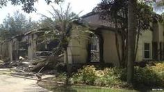 A house owned by former tennis pro James Blake is seen after a fire, in this handout photograph provided by Hillsborough Fire Rescue in Tampa, Florida 7 May 2014