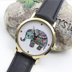 Colorful Elephant Leather Quartz Watch