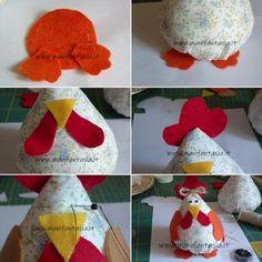 Gallina di stoffa fai da te - manifantasia Christmas Stockings, Christmas Tree, Christmas Ornaments, Hens, Easter Crafts, Arts And Crafts, Bunny, Holiday Decor, Diy