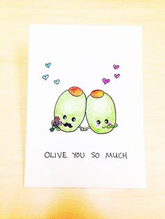 Funny love card, I love you card, Olive you so much, funny anniversary card for boyfriend, hand drawn card, fruit pun by LoveNCreativity