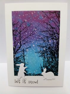 Christmas card with Poppystamps die, Fuzzy Bunnies and Penny Black, Woodland Wonder stamp.
