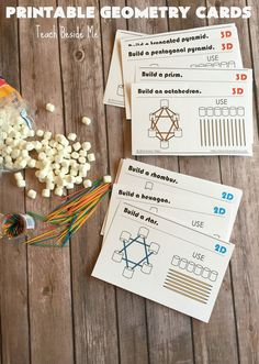 Build geometric shapes with marshmallow and toothpicks. These printable cards have 22 different options of what to build!