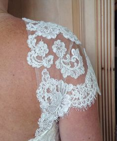 removable cap sleeves 24 by RosemaryDesignsBride on Etsy $165