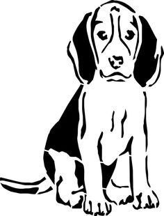 Beagle Stencil - Re-usable x 10 Inch Animal Silhouette, Silhouette Art, Stencil Patterns, Stencil Designs, Dog Stencil, Wood Burning Patterns, Art Drawings For Kids, Beagle Dog, Scroll Saw Patterns