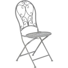 OKA Rivoli Folding Outdoor Chair (225 BRL) ❤ Liked On Polyvore Featuring  Home, Outdoors, Patio Furniture, Outdoor Chairs, Antique Grey, Metal Garden  ...