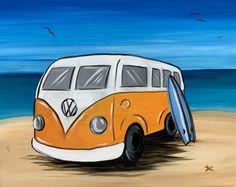 VW Kombi Paint And Sip, Vans, Paintings, Vehicles, Paint, Painting Art, Painting, Car, Draw