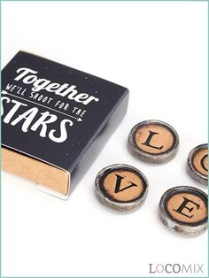 These cool Typewriter Magnets are one of a kind. The four magnets form the word 'LOVE'. What else do we need at a wedding?! The magnets come in a box that is covered by a wrapper. Pick a design and adjust it or design your very own!