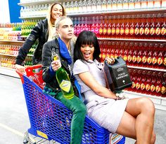Rihanna and Cara Delevingne were pushed in a grocery cart by a model pal in a CostCo-like space following the Chanel Fashion Show in Paris March 4.