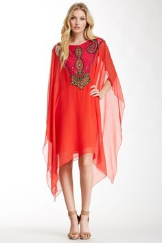 Haute Hippie Beaded Silk Caftan Dress