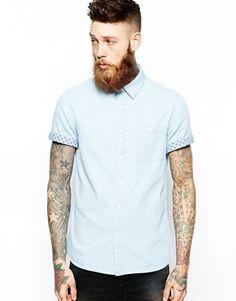 ASOS Denim Shirt In Short Sleeve With Contrast Circle Trim