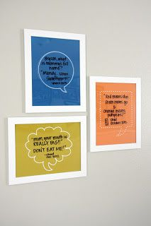framed quote bubble for writing down the funny things your kids say. ha