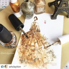 """#Repost @artclaytion with @repostapp. Shades of Gold. #fw16marchesa collection. Nail polish on paper, April 2016. #marchesafanfriday #marchesa…"":"