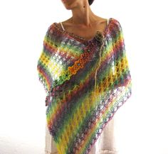 Over The Rainbow...Mohair  Lace Poncho. $69.00, via Etsy.