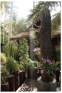 Tree shower at Baan Habeebee Resort