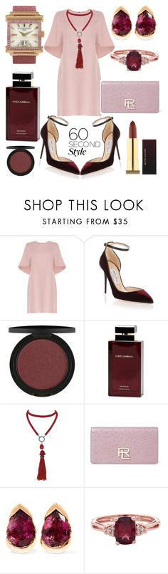 """♡♡♡"" by olgakarmona ❤ liked on Polyvore featuring Valentino, Jimmy Choo, Dolce&Gabbana, Marina J., Ralph Lauren, Fernando Jorge, de Grisogono, Luxe, familydinner and softpink"