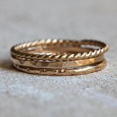 Gold stacking rings 14k gold stacking rings door PraxisJewelry