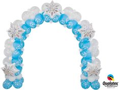 Balloon party decor ideas, images and instructions for balloon arches & columns, organic balloon decor and balloon delivery. Snowflake Decorations, Balloon Decorations, Balloon Ideas, Qualatex Balloons, Balloon Delivery, Frozen Party, Balloon Arch, 2nd Birthday, Happy Holidays
