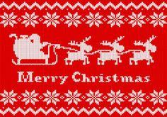 rot weiß gestrickte Weihnachtskarte