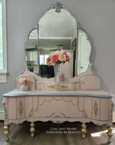 Chic and Shabby Furniture By Rebecca I'm always excited to get to work on vintage vanities! Hope you love this one as much as I do! This was a custom order for her mother bought to me to do in my favorite vanity colors. The detail work took me a LOT longer then I anticipated but I'm so happy how it turned out. I used @woodubend #1237 on the top middle drawer and the smaller version on the bottom drawer. @dixiebellepaint I used a mix of Tea Rose Pink Champagne & Cotton. Silver Bullet.