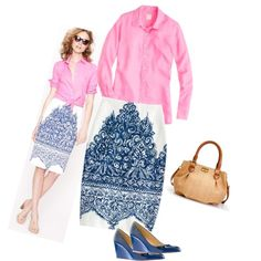 """""""J. Crew No. 2 Pencil Skirt in Porcelain Paisley and Martina Wedges in Casablanca Blue"""" by jcrewismyfavstore on Polyvore"""