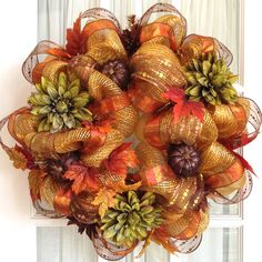 Fall Deco Mesh Wreaths | Deco Mesh FALL Wreath Gold Copper Brown Dahlias Glitter Pumpkins Door ...