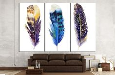 Boho Feather Set Canvas Print from Zellart. Get this print starting at $109.99 Add value to your Home or Office Interior Design. Fast Order Fulfilment & Shipping.