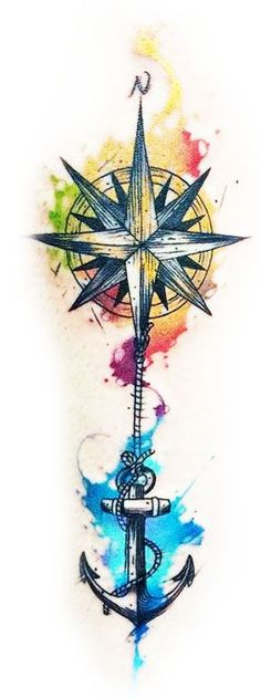 Stunning watercolor compass tattoos