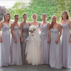 Grey mismatched floor length bridesmaid dresses | A Day Of Bliss Wedding Photography