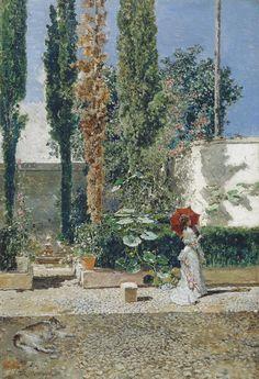 El jardín de la casa de Fortuny, Mariano Fortuny y Marsal; Raimundo de Madrazo y Garreta, Óleo sobre tabla, 40 x 28 cm, H. 1872 y 1877. Cuadro de gabinete.