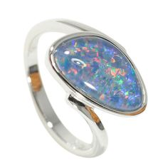 Blue Pink Hand Crafted OOAK Color Play Opals Sterling Silver Settings Natural Australian Opal Earrings Green