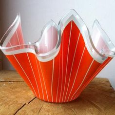 Vintage Handkerchief Bowl in bold orange and fine white stripe. A one-off vintage find. £22.00... Or come on over to our blog, http://diningroomdecor.tropicalhouseplants.net/, for some products that don't require foreign currency.